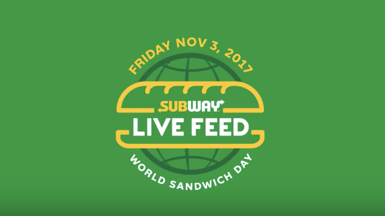 "Milford, CT (Oct. 25, 2017) – Subway® is taking National Sandwich Day global with World Sandwich Day. On Friday, Nov. 3, more than 40,000 Subway® restaurants in more than 60 countries will invite customers to join its ""Live Feed"" by enjoying a special offer that will help fight hunger around the world."